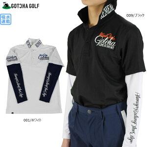 【30%OFF】ガッチャゴルフ ドライ フェイクレイヤード ポロシャツ 201GG1203 半袖 ゴルフウエア M-XXXL メンズ ホワイト/ブラック 全2色 吸水速乾 大きいサイズ ガッチャ gotcha golf