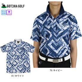 【25%OFF】 ガッチャゴルフ ポロシャツ 202GG1213 DRY UVカット 幾何学柄MIXボタニカルポロ M-XXXL ホワイト/ネイビー 全2色 ポロ ボタニカル 大きいサイズ