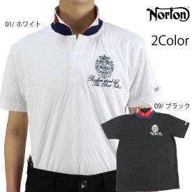 【2021春夏新作】ノートン メンズ 半袖ポロシャツ 212N1201 ダイヤジャガード 衿裏配色ポロシャツ ゴルフシャツ Norton バイカー norton