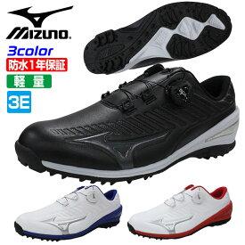 ミズノ ゴルフシューズ メンズ 軽量 防水 スパイクレス BOA ダイヤル MIZUNO 51GR1995