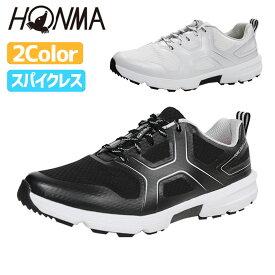 ホンマ ゴルフ シューズ 超軽量 カーボン スパイクレス シューズ 紐タイプ 3E ブラック ホワイト メンズ SR12005 本間 HONMA
