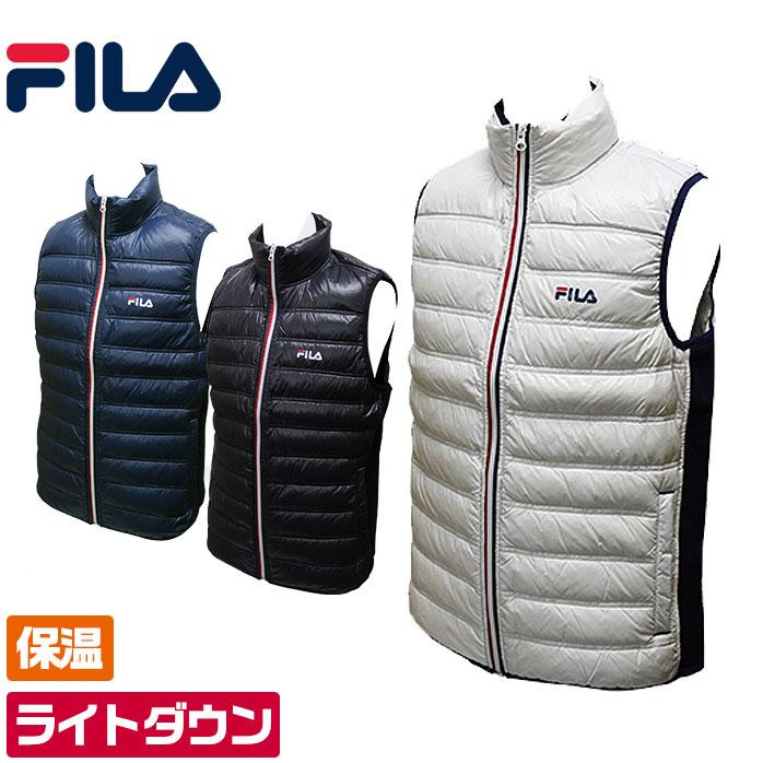 フィラゴルフ トリコロール ダウンベスト フリース素材とダウンで暖かく保温 軽くて動きやすいダウンベスト メンズ ゴルフウェア FILA Golf 786-209
