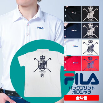 The back print with the high-performance polo lam of the FILA decalogo back print polo shirt sweat perspiration fast-dry UV cut has a big impact! 747-684 GOLFware