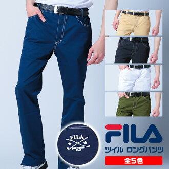 不在FILA斜纹布裤子下摆的狭缝需要缝边! 大的FILA标识在吸汗速乾、UV cut·伸展的高性能裤子背面含的简单的裤子747-375 Fila GOLF服装