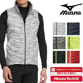 ミズノ ゴルフ メンズ ベスト テックフィル中綿入りプリントベスト 着るだけで発熱 保温素材 ブレスサーモ 52ME7506 mizuno