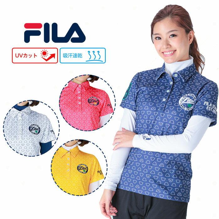 【2017年秋冬】フィラ 長袖ハイネックアンダーシャツ付き半袖ポロシャツ レディース くまパターンプリントのかわいいポロシャツ FILA 797502