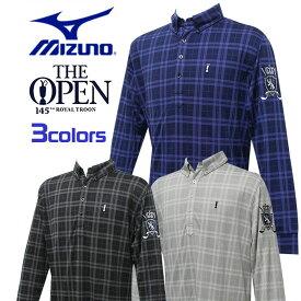 ミズノ MIZUNO ゴルフ ウェア メンズ ポロシャツ 長袖 チェック柄 袖口にゴム付 The Open 刺繍ワッペン 52JA4641