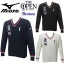ミズノ MIZUNO ゴルフ ウェア メンズ Vネック セーター The Open 全英オープン 大会イメージデザイン 全3色 52JC4625