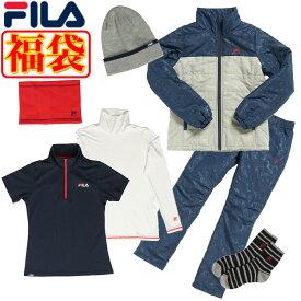 フィラ ゴルフ 福袋 2021年 レディース 7点セット 薄中綿ブルゾン パンツ インナー 半袖シャツ キャップ ネックウォーマー 靴下 カモフラ柄 バック付き FILA 790100