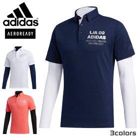 アディダス ゴルフ ウエア チェストロゴ シャツ ポロシャツ レイヤード 20SS GLD28 FJ6427 FJ6428 FJ6429 ホワイト カレッジネイビー ショックレッド adidas