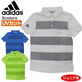 アディダス ゴルフ ウエア ジュニア ボーイズ 半袖 ポロシャツ ビッグ ストライプ BOYS FRL27 ホワイト トゥルーブルー ハイレスイエロー DP5903 DP5904 DQ2081 adidas