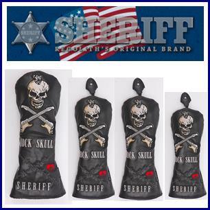 【送料無料】SHERIFF SKULL SERIES Head Cover シェリフ スカルシリーズ ヘッドカバー4点セット『DRx1本,FWx2本,UTx1本』 【ブラック】SFS-005
