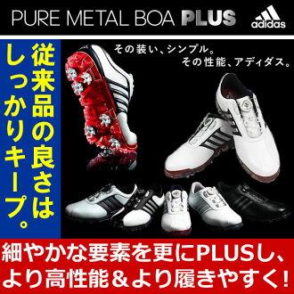 阿迪达斯高尔夫球纯的金属毛皮围巾加人高尔夫球鞋PureMetalBoaPLUS[Adidas]
