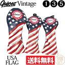 【送料無料】【即納】3個セット ギアット GUIOTE Vintage USA FLAG PUレザー ウッドヘッドカバー (#1・#3・#5) 刺繍…