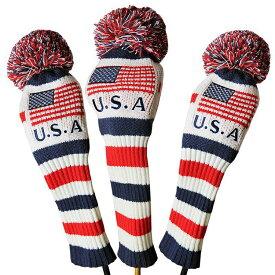 オリジナル USAフラッグ ポンポン ウッドヘッドカバー 3個セット(#1・#3・#5) 285 【ゴルフ】