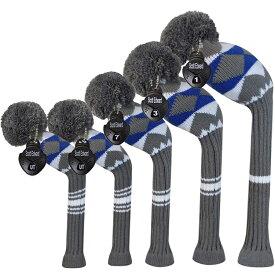 Scott Edward 5個セット ニット ポンポン グレー/ブルー アーガイル ヘッドカバー (#1・#3・#5・UT・UT) AH148 【ゴルフ】