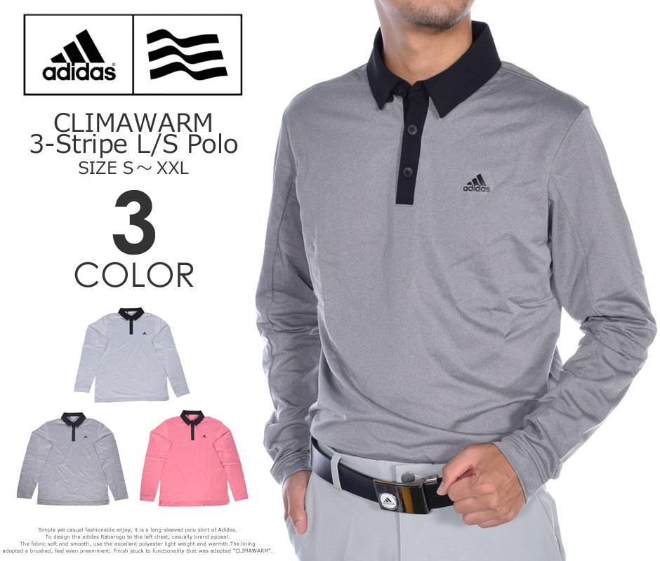(在庫処分)アディダス adidas ゴルフウェア メンズ 秋冬ウェア 長袖メンズウェア ゴルフ CLIMAWARM 3ストライプ 長袖ポロシャツ 大きいサイズ USA直輸入 あす楽対応