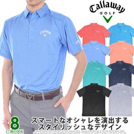 ゴルフウェア メンズ シャツ トップス ポロシャツ 春夏 おしゃれ キャロウェイ Callaway  デニム ジャガード 半袖ポロシャツ 大きいサイズ USA直輸入 あす楽対応