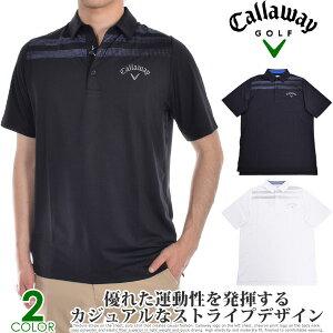 (スペシャル感謝セール)キャロウェイ Callaway シャツ トップス 春夏 おしゃれ ゴルフウェア メンズウェア テクスチャ ストライプ プリント 半袖ポロシャツ 大きいサイズ USA直輸入 あす楽対