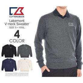 (感謝セール品)カッター&バック Cutter&Buck 長袖メンズウェア レイクモント Vネック 長袖セーター 大きいサイズ USA直輸入 あす楽対応