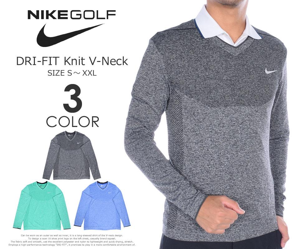 (在庫処分)ナイキ Nike ゴルフウェア メンズ 秋冬ウェア 長袖メンズウェア ゴルフ DRI-FIT ニット Vネック 長袖シャツ 大きいサイズ USA直輸入 あす楽対応