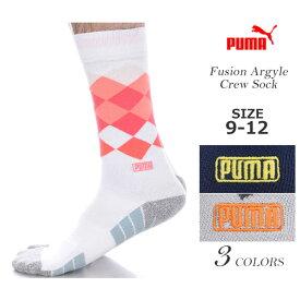 プーマ Puma ソックス 靴下 ゴルフウェア メンズ おしゃれ ゴルフメンズウェア フュージョン アーガイル クルー ソックス USA直輸入 あす楽対応