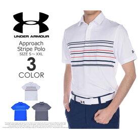 ゴルフウェア メンズ シャツ トップス ポロシャツ 春夏 おしゃれ (在庫処分)アンダーアーマー UNDER ARMOUR ゴルフウェア メンズウェア ゴルフ アプローチ ストライプ 半袖ポロシャツ 大きいサイズ USA直輸入 あす楽対応