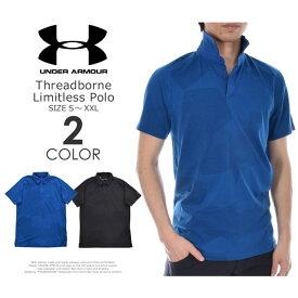 (在庫処分)ゴルフウェア メンズ シャツ トップス ポロシャツ 春夏 おしゃれ アンダーアーマー UNDER ARMOUR ゴルフウェア メンズウェア スレッドボーン リミットレス 半袖ポロシャツ 大きいサイズ USA直輸入 あす楽対応