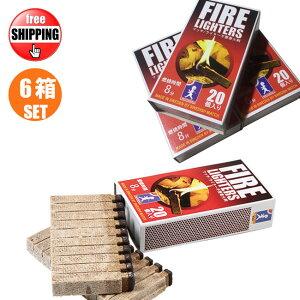 6箱セット マッチ型 着火剤 FIRE LIGHTERS ファイヤーライターズ 20本入り BBQ 火起こし 焚き火 薪ストーブ キャンプ アウトドア 炭 ライター不要