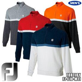 フットジョイ メンズ 防風裏地付きセーター ハーフジップラインセーター 切替デザイン FJ-F18-M11