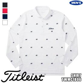 タイトリスト メンズ 長袖 ポロシャツ 刺繍柄カノコワイドスプレッドシャツ TWMC1806