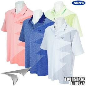ツアーステージ メンズ 半袖ポロシャツ 杢天竺プリントデザイン FTM07A