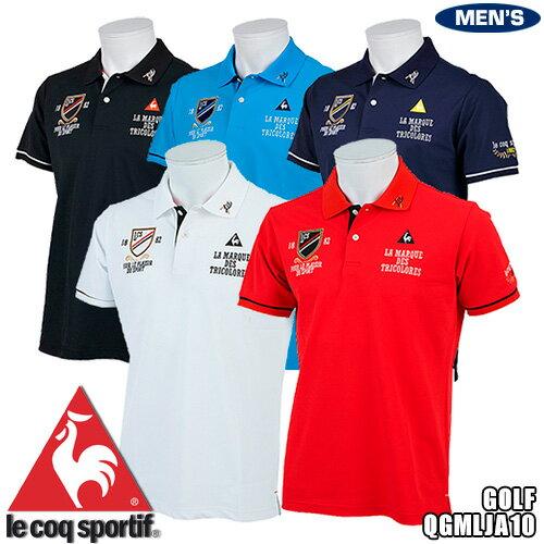 ルコック ゴルフ メンズ 半袖ポロシャツ マーキングデザイン QGMLJA10