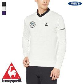 ルコック ゴルフ メンズ マーキングデザインVネックセーター 2019年秋冬モデル QGMOJL11