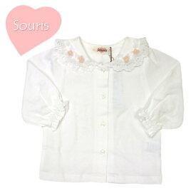Tシャツ スーリー 100102 ハートカットレース衿Tブラウス 女の子 70cm 80cm 90cm 100cm 110cm Souris