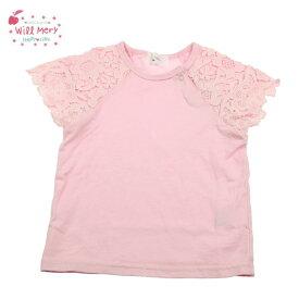 ★SALE(セール)★Tシャツ ウィルメリー S46858 袖花柄レースTシャツ 女の子 80cm 90cm 95cm 100cm 110cm 120cm 130cm Will Mery