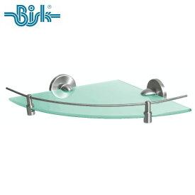 BISK(ビスク) VIRGINIA コーナーシェルフ ガラスシェルフ 洗面所 おしゃれ ガラス棚 ステンレス 半径266mm (ZnAl ステンレス合金/シルバー/ニッケルブラッシング仕上げ) 壁掛け ネジ付属
