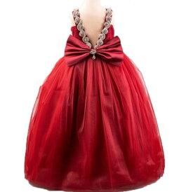 子供ドレス 女の子 誕生日 ノースリーブ 袖なし フォーマルワンピース リボン ロングドレス Vネック ラインストーン 舞台 ピアノ  フォーマルドレス パーティードレス レース チュール キッズドレス 80cm-160cm