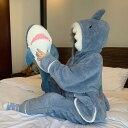 冬 もこもこ パジャマ ルームウェア サメ 上下セット 長袖 ふわふわ フード付き 部屋着 冬 暖かい セットアップ…