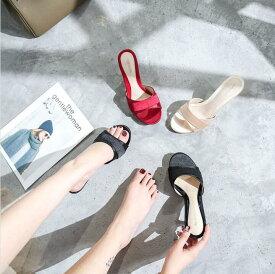 ハイヒールミュール 4.5/6.5/8.5cmヒール レディース 靴 美脚 大きいサイズ サテン パーティ 履きやすい 歩きやすい ピンヒール 26.5センチまで