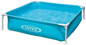 【日本正規品】【 インテックス】INTEX(インテックス)ミニフレームプール ブルー 122×122×30cm 可愛い キッズ用 子供用 こども用 ベビー用 家族用 大型プール 水遊び ビニールプール ふかふか