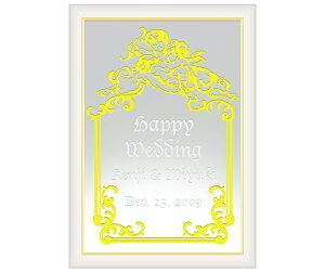 【オリジナルメッセージ・名入れ】ミラーウェルカムボード B4ホワイト 結婚式、2次会、内祝い、出産祝い、新築祝いに♪【オリジナルギフト】【ミラー】【壁掛け・置き】【インテリア雑