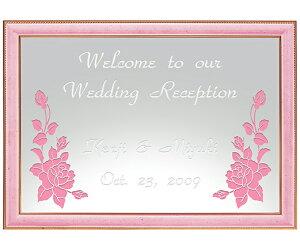 結婚祝い ウェルカムボード 名入れ -ミラーウェルカムボード B4ライトピンク- [結婚祝い 2次回 名入れ ウェルカムボード ウエルカムボード 結婚祝い ブライダル 結婚祝い 披露宴 結婚祝い 名
