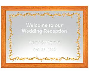 【オリジナルメッセージ・名入れ】ミラーウェルカムボード A3チェリーウッド 結婚式、2次会、内祝い、出産祝い、新築祝いに♪【オリジナルギフト】【ミラー】【壁掛け・置き】【インテ