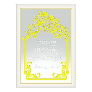 【オリジナルメッセージ・名入れ】ミラーウェルカムボード A3ホワイト 結婚式、2次会、内祝い、出産祝い、新築祝いに♪【オリジナルギフト】【ミラー】【壁掛け・置き】【インテリア雑