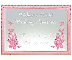 【オリジナルメッセージ・名入れ】ミラーウェルカムボード A3ライトピンク 結婚式、2次会、内祝い、出産祝い、新築祝いに♪【オリジナルギフト】【ミラー】【壁掛け・置き】【インテリ