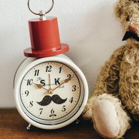 誕生日プレゼント かわいい目覚まし時計 -Mustachu- [めざまし時計 オシャレ 可愛い おしゃれ こども 子供 アイボリー ネイビー お洒落 キュート 女子 アラームクロック デザイン時計 誕生日プレゼント ギフト 帽子型 女の子 ユニーク カワイイ]
