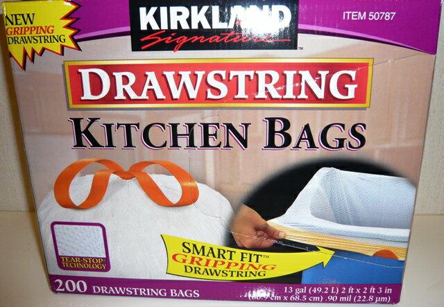 【送料無料】KIRKLAND カークランドキッチンバッグ ひも付きごみ袋 ゴミ袋 200枚 【コストコ通販】【送料無料:沖縄・一部離島は対象外】
