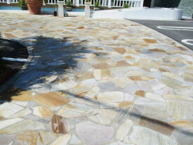 乱形石 アルビノイエロー 乱形 石材 天然石 玄関 アプローチ 駐車場 エクステリア 庭 ガーデニング DIY 0.5平米セット (0.25平米×2パック) RK07PC