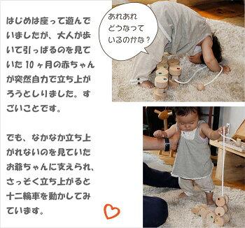 【送料無料】●十二輪車(ロングタイプ)プルトーイ引っ張る木のおもちゃ車赤ちゃんおもちゃ日本製6ヶ月7ヶ月8ヶ月9ヶ月10ヶ月1歳ランキング2歳3歳誕生日ギフト誕生祝い出産祝いカタカタ引き車くるま